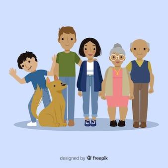 Ritratto di famiglia felice, disegno vettoriale stilizzato