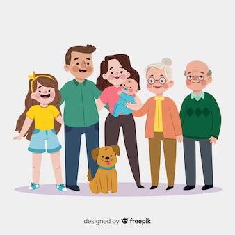 Ritratto di famiglia sorridente disegnato a mano