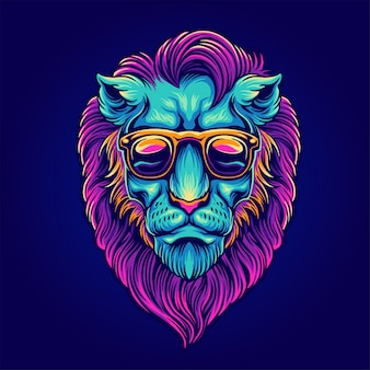 Ritratto di leone con occhiali da sole