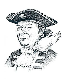 Ritratto di pirata capitano uomo sulla nave che viaggia attraverso gli oceani e i mari.