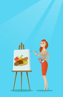 Ritratto di pittura artista femminile creativo.