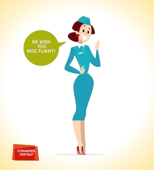 Ritratto di signora hostess in uniforme. stile.