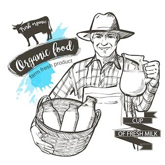 Ritratto di un contadino maturo portando un barattolo e un cesto pieno di bottiglie con prodotti lattiero-caseari