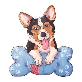 Ritratto di un simpatico corgi cane sul cuscino.