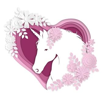 Ritratto di un unicorno stilizzato nello stile di arte della carta.