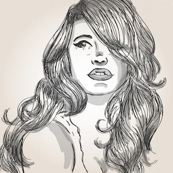Ritratto di una bella donna con i capelli belli