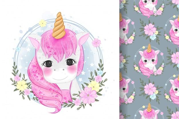 Ritratto di unicorno carino con illustrazioni di fiori e modelli senza soluzione
