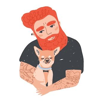 Ritratto di uomo barbuto carino rossa con tatuaggi che tiene il suo cane o cucciolo.