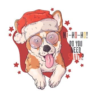 Ritratto disegnato a mano del cane del corgi in accessori di natale