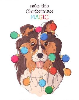 Ritratto disegnato a mano del cane delle collie in accessori di natale.