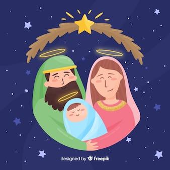 Ritratto disegnato a mano di famiglia sacra