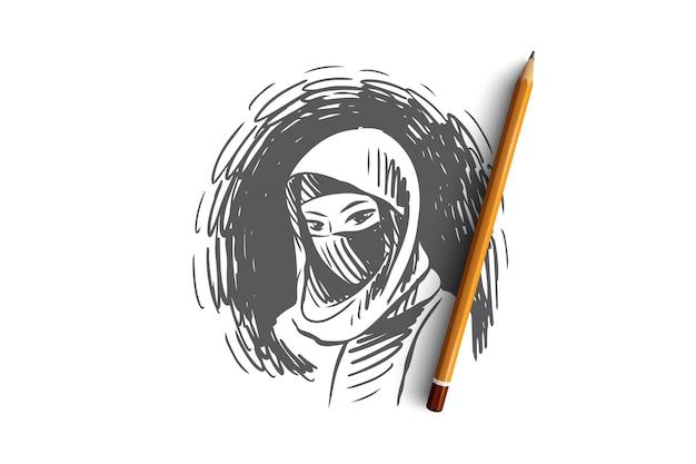 Ritratto disegnato a mano di giovane bella donna musulmana che indossa lo schizzo di concetto di hijab