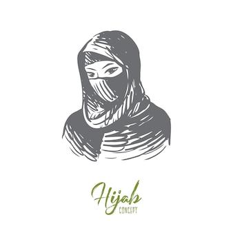Ritratto disegnato a mano di giovane donna musulmana nello schizzo del concetto di hijab