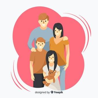 Ritratto familiare disegnato a mano