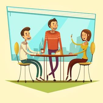 Riunione d'affari e coworking con la tavola e caffè sull'illustrazione gialla di vettore del fumetto del fondo