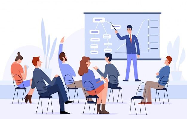 Riunione d'affari, illustrazione piana di vettore della conferenza della gente