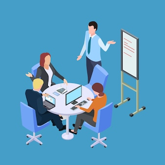 Riunione d'affari o conferenza isometrica con l'illustrazione del banco informazioni