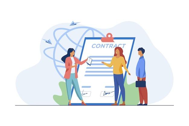 Riunione dei partner commerciali. persone di affari che si incontrano per la firma di contratto piatto illustrazione vettoriale. lavoro, affare, partnership