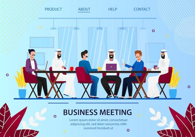 Riunione del consiglio di amministrazione aziendale con partner arabi.