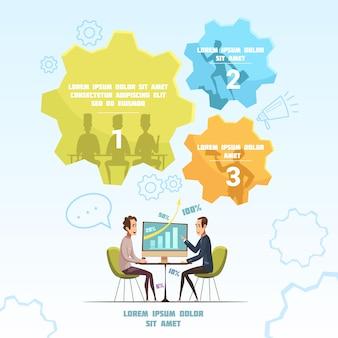 Riunione dell'insieme infographic con l'illustrazione di vettore del fumetto di simboli di conversazione e di discussione