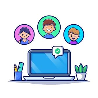 Riunione della gente online con l'illustrazione dell'icona del fumetto del computer portatile. premio isolato concetto dell'icona di tecnologia della gente. stile cartone animato piatto