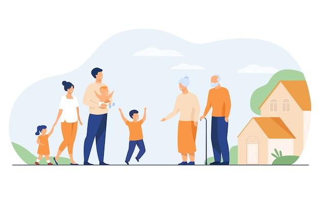 Riunione di famiglia nella casa di campagna dei nonni. bambini e genitori entusiasti che visitano nonna e nonno, ragazzo che corre dalla nonna. illustrazione vettoriale per famiglia felice, amore, genitorialità