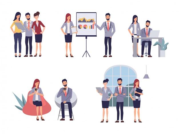 Riunione seminario uomini d'affari lavoro di squadra ufficio. illustrazione di vettore del fumetto in stile piano
