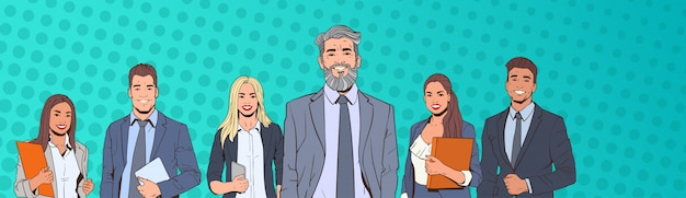 Riuscito uomo e donna di affari sopra la squadra variopinta di affari delle persone del fondo di stile di pop art di retro