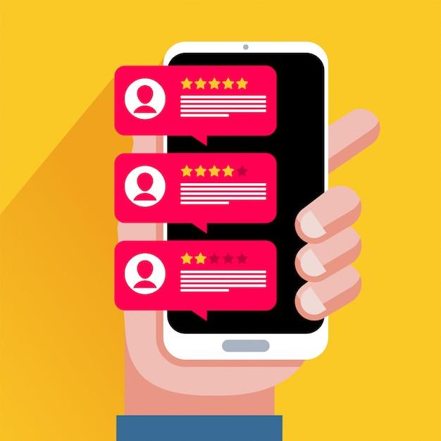 Rivedi i discorsi delle bolle di valutazione sull'illustrazione del telefono cellulare, le recensioni di smartphone in stile piatto sono stelle con tasso e testo buoni e cattivi, concetto di messaggi di testimonianze, notifiche, feedback