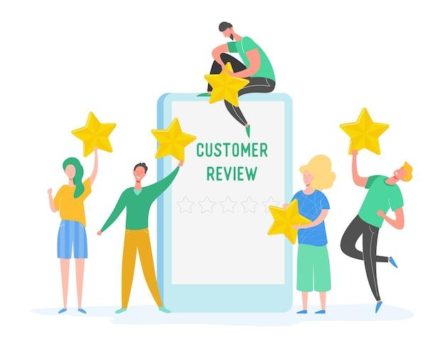 Rivedi l'illustrazione del concetto. caratteri della gente che tengono le stelle d'oro. uomini e donne valutano i servizi e l'esperienza dell'utente. giudizio positivo a cinque stelle, buon feedback. cartone animato
