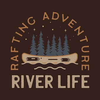 River life logo design. patch distintivo dell'avventura rafting. design da campo per t-shirt, altre stampe. etichetta per insegne da esterno. azione
