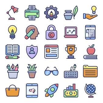 Riviste online e icone piatte di blog video