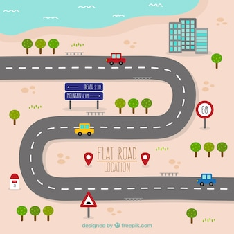 Road map design piatto
