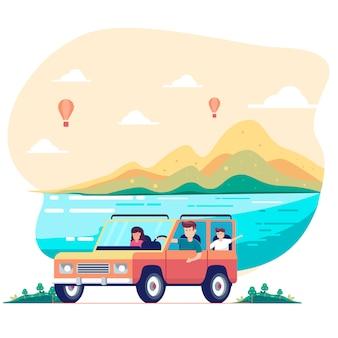 Road trip con la famiglia. padre, madre, figlio