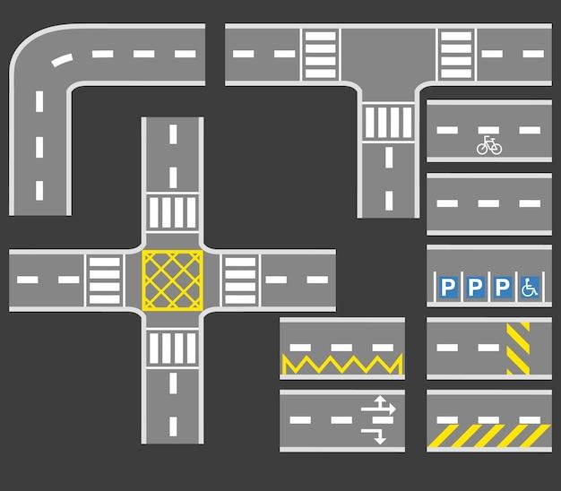Road with white line collezione set