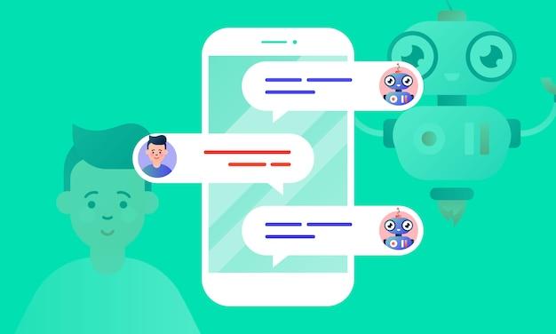 Robo advisor aiuta il suo cliente, chattando con lui tramite lo smartphone