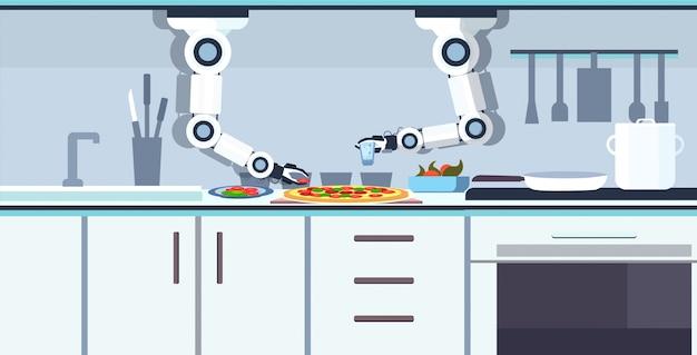 Robot a portata di mano del cuoco unico astuto che prepara gustosa pizza robot assistente innovazione tecnologia concetto di intelligenza artificiale moderna cucina interno orizzontale