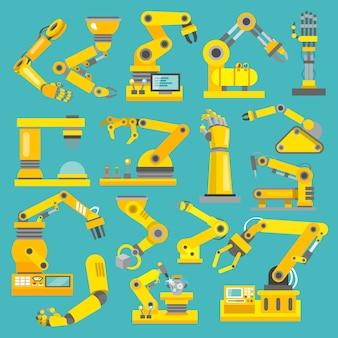 Robot braccio fabbricazione industria tecnologica assemblaggio meccanico piatto decorativo icone impostare isolato illustrazione vettoriale