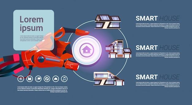 Robot che consegna la tecnologia dell'interfaccia di controllo della casa intelligente del concetto di automazione domestica