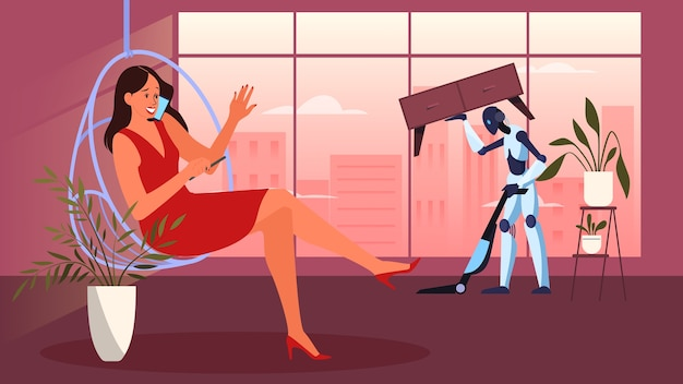 Robot che fa i lavori domestici. pulizia robotica. robot che fa pulizia domestica. tecnologia e automazione futuristiche.