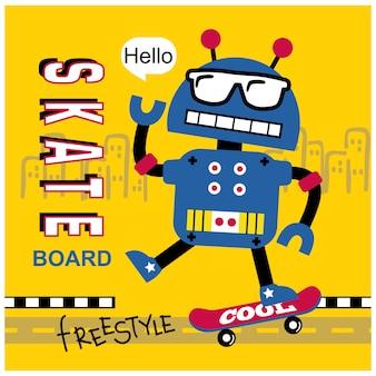Robot che gioca a skateboard cartone animato divertente, illustrazione vettoriale