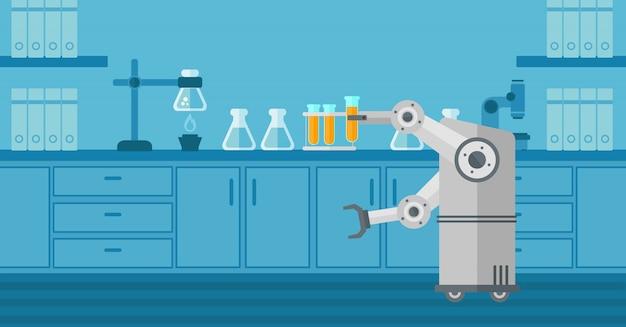 Robot che lavora in un laboratorio con una provetta.