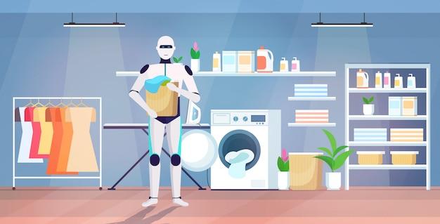 Robot che mette i vestiti sporchi in lavatrice