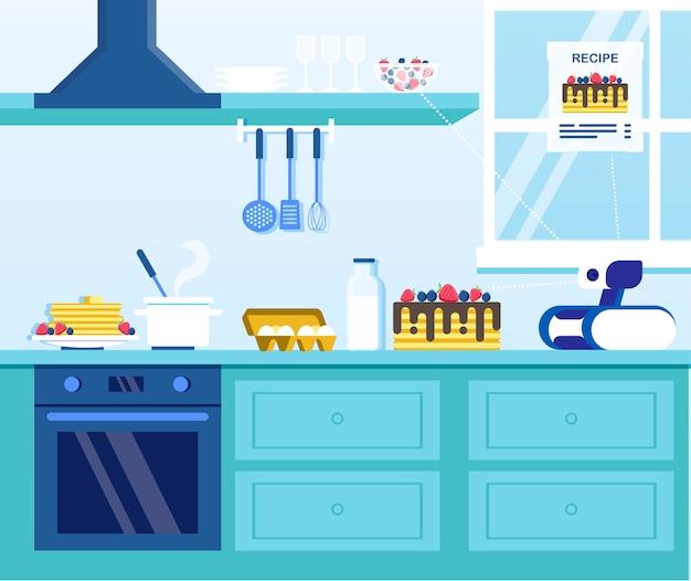 Robot della famiglia che prepara i pancake sulla cucina