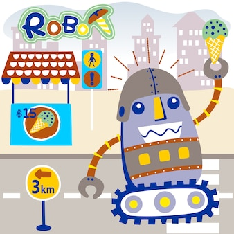 Robot divertente con gelato