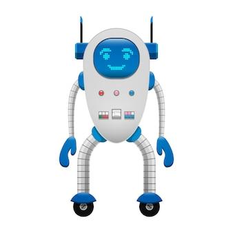 Robot elettronico sull'illustrazione isolata ruote