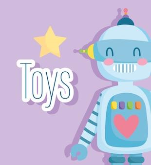 Robot giocattolo con stella e cuore