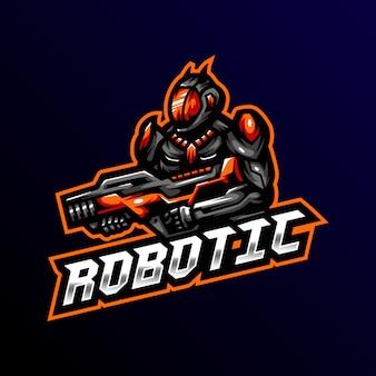 Robot mascotte logo esport illustrazione di gioco