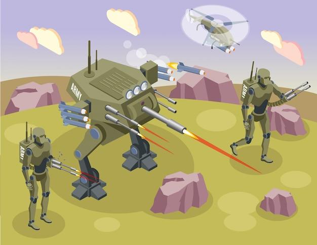 Robot militari isometrici con soldati combattenti e androidi sul campo di battaglia