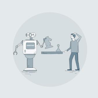 Robot moderno che gioca scacchi con l'icona dell'uomo, tecnologia futuristica del meccanismo di intelligenza artificiale